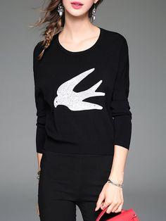 #AdoreWe #StyleWe ELENYUN Black Knitted Sequins Embroidery Long Sleeve Sweater - AdoreWe.com