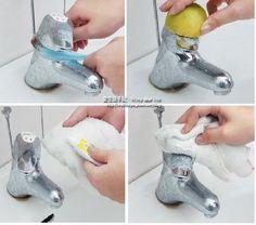 第一招: 在廚房濾網中裝入小塊的肥皂。套住水龍頭並來回前後拉扯,就能清潔到細縫的地方。  第二招: 在切半的檸檬上灑上鹽巴,並塗抹均勻。檸檬直接刷洗水龍頭表面污漬處。  第三招終極反光: 直接拿抹布沾取牙膏。塗抹在水龍頭髒污處馬上讓水龍頭亮晶晶!!