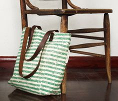 Striped Tote Bag in green