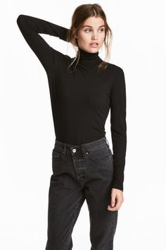 Fitted, polo-neck jersey top.
