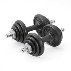 Cast Iron Dumbbell Set Weights total 20kg Biceps Workout Training Fitness. http://goo.gl/baPfyS