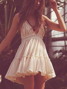 """Boho Mini Dress """"100 Degree"""" Beige Off White Halter Top With Tiered Polka Dot Netting Sizes Small Medium Or Large Free Spirited People"""