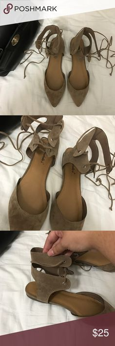 Suede Lace up flats These are taupe color suede lace up flats. NEW. Features a pointed toe and has a beautiful lace up ties. They go great with just about anything! NO TRADES! Breckelles Shoes Flats & Loafers