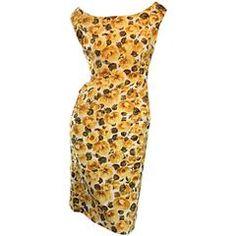 Rare 1950s J. M. Ravene of Paris Demi Couture Yellow Rose Print 50s Wiggle Dress