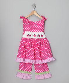Hot Pink Ladybug Tunic & Capri Pants - Infant, Toddler & Girls
