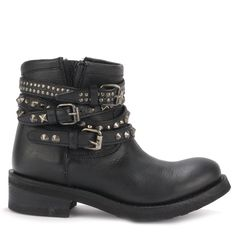 Ash TATUM Biker Boots Black Leather & Tarnished Silver Studs