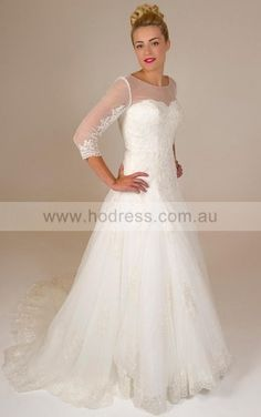 3/4-Length Sleeves Lace-up Lace Jewel A-line Wedding Dresses ghcf1042--Hodress
