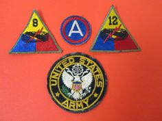 Vintage Lot Of 4 US Authentic WWII Patches WW2 World War 2 Army. #patches #world war 2 #WWII #WW2 #US #war #Army #battalion