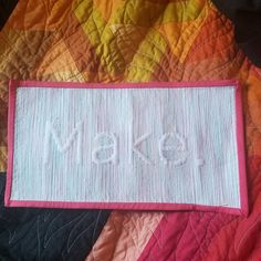 For this week's challenge, I made a little decoration for my makerspace after we move. It finished at about x and was quilted using variegated thread. Quilting, Challenges, It Is Finished, Decoration, Creative, Projects, How To Make, Instagram, Decorating
