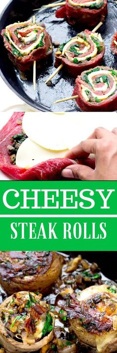 Quick and easy Cheesy Crusted Spinach and Mushroom Steak Rolls. Quick and easy Cheesy Crusted Spinach and Mushroom Steak Rolls Quick and easy Cheesy Crusted Spinach and Mushroom Steak Rolls Diet Dinner Recipes, Keto Dinner, Meat Recipes, Low Carb Recipes, Cooking Recipes, Healthy Recipes, Ketogenic Recipes, Diet Menu, Zoodle Recipes