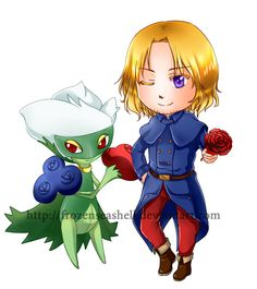 """Hetapoke- France+Roserade by FrozenSeashell.deviantart.com on @deviantART - Third in a series pairing Hetalia characters with Pokémon. From the artist's comments: """"France partnered with Roserade because of the vibrant red and blue theme colours."""" And I daresay the association with roses doesn't hurt either - even if that association for Francis is only true for HIM and not for FRANCE."""