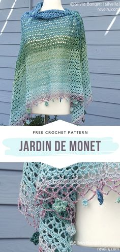 How to Crochet Jardin de Monet Shawl - - These free crochet patterns for Spectacular Openwork Shawls will bring you so much joy! If you were looking for a fashionable project that will let you. One Skein Crochet, Crochet Shawl Free, Crochet Shawls And Wraps, Crochet Scarves, Diy Crochet, Crochet Clothes, Crochet Stitches, Crochet Vests, Crochet Edgings