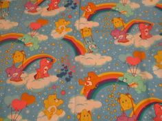 Vintage Fabric 2003 CARE BEARS Cotton Fabric 1 Yard New Old Stock #SpringsCreative