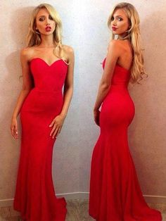 Trumpet/Mermaid Sweetheart Sweep Train Silk-like Satin Prom Dresses with Ruffle #Favs020102187 Grad Dresses, Homecoming Dresses, Ball Dresses, Dance Dresses, Mermaid Prom Dresses, Bridesmaid Dresses, Formal Dresses, Prom 2016, Red Maxi