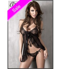 Babydoll made of lace thong and chest and very fine and soft mesh.Beautiful satin ribbon in the center of the chest and on the string.Matching thong included.