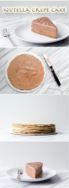 Nutella Crepe Cake: super thin crepe layers with nutella frosting...yum! #cookinglight #healthycake