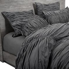 Have this bedding in white and love it! I used the charcoal color on the euro pillows and coverlet to accent it