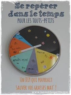 L'aider à se repérer dans le temps : l'horloge des petits  La cour des petits http://www.lacourdespetits.com/aider-se-reperer-temps-horloge-enfant/ #montessori #time #temps