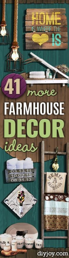 41 More DIY Farmhouse Style Decor Ideas - Creative Rustic Ideas for Cool Furniture, Paint Colors, Farm House Decoration for Living Room, Kitchen and Bedroom http://diyjoy.com/diy-farmhouse-decor-projects