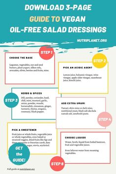 Download a printable step-by-step guide of how to make vegan oil-free salad dressings. #oilfreesaladdressing #oilfreesaladdressingvegan #oilfreesaladdressingrecipes #veganoilfreesaladdressing #healthysaladdressing #saladdressingguide #saladdressingrecipeshealthy