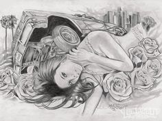 lowrider drawings pictures | ... 2011 January 2012 Black And White Art Jose Curly Bahena Photo 37