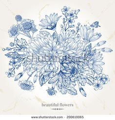 Hand-drawing vintage card with a bouquet of blue flowers. Vector illustration. Graphics.