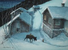 Kjell Midthun Christmas Tale, Christmas Feeling, Swedish Christmas, Christmas Illustration, Cute Illustration, Baumgarten, Winter Fairy, Gnome House, Scandinavian Art