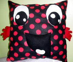 Large Fleece Hug ME decorative pillow Red and Black Polka Dot. $34.99, via Etsy.