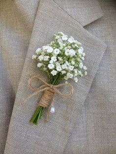 Ideal boutonniere - baby's breath with jute string