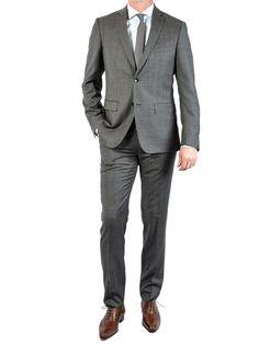 Costume super 120'S Italien Prince de Galles gris moyen www.handson-shop.com