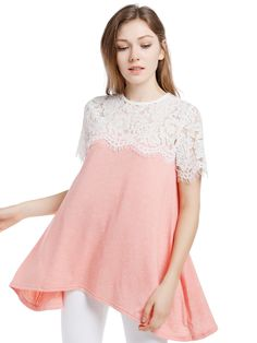 Cheap blouses short sleeves, Buy Quality long blouse directly from China female blouse Suppliers: Blooming Jelly Lace Patchwork Pink Long Blouse Short Sleeve Hem Asymmetrical Top Casual Loose Summer Female Blouse Shirt Blusa Top Casual, Asymmetrical Tops, Shirt Blouses, Blouses For Women, Casual Shirts, Fashion Beauty, Tunic Tops, Sleeves, Body Measurements
