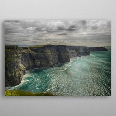 Cliffs of Moher - metal poster . Canvas Wall Art, Wall Art Prints, Poster Prints, Wild Atlantic Way, Into The West, Landscape Photos, Beautiful Landscapes, Vintage Posters, Wall Murals