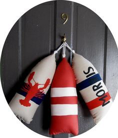 Maine Lobster Buoy Pillow.gifts under 45.life by CobaltSkyStudio
