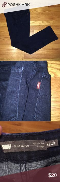 Levi's Blue Denim Jeans Indigo blue Levi jeans- gently worn  Sizes in pictures- crease down the middle Levi's Jeans Straight Leg