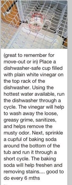 How to clean a dishwasher. To do about every 6 months. Great to do when moving into a new home. by marietta Clean A Dishwasher, Cleaning Dishwasher Vinegar, Diy Dishwasher Cleaner, Cleaning With Vinegar, Dishwasher Stinks, Cleaning Solutions With Vinegar, Dishwasher Smells Bad, Dishwasher Cleaning Tips, Microwave Cleaning Hack