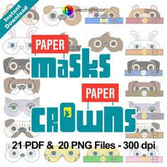 The Secret Life of Pets - Paper Masks and Paper Crowns - 21 PDF and 20 png files…