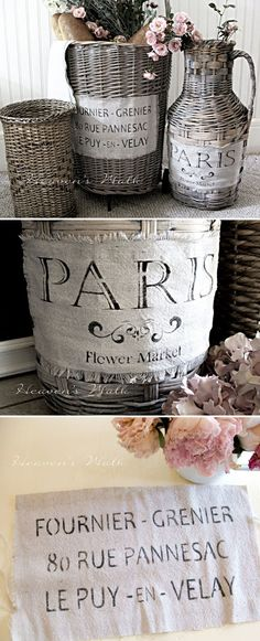 STENCILS :: Vintage French Market Baskets Tutorial :: Made w/ dropcloth & paint--loved the vintage look. Use French Linen as the base color, dipping brush in the paint then in a bowl of water, haphazardly brushing the color on. Let dry & go back doing a very wet brushing in Old White over entire basket allowing the watery paint to catch in the cracks. Haul out a French address stencil, a piece of leftover drop cloth, & Graphite paint,stencil onto dropcloth & silicone glue to basket.