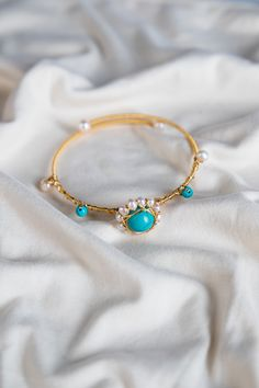 Turquoise Gold Wired Freshwater Pearl Bangle