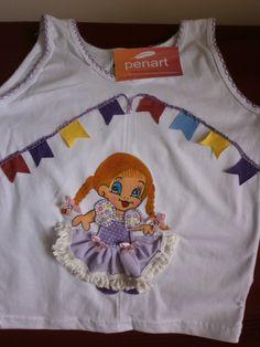 Camiseta regata infantil com Boneca caipira vestido lilás - bordada a mão  Boneca Caipira 5df3db415d8
