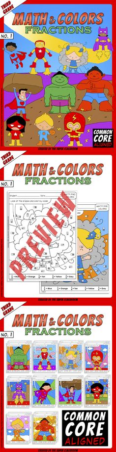 Math and Colors – 001 – Fractions - 3rd grade - Common Core Aligned With these puzzles students will color by looking at the shapes and using the words: one half, one third, one fourth, one fifth, one sixth. This product implements the following Common Core Standard: 3.GA.2 $