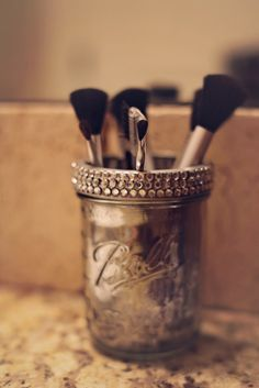 You look stunning and your accessories should too! Get the practicality and functionality of glam in our Mason Jar Cosmetic Brush Holder, hand-crafted by iLove Vonnie. This dazzling eye-candy is 12 oz deep and can hold all of your cosmetic brushes, hair styling tools or anything else you have lying around that needs a cute home! Get one today for yourself or as an early Christmas gift for your best gal pal!