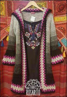 Crochet Coat, Crochet Cardigan Pattern, Crochet Jacket, Crochet Shawl, Crochet Clothes, Moda Crochet, Crochet Granny, Unique Crochet, Beautiful Crochet