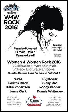 "February 27, 2016 @ Lola's Saloon - Matte Designs presents ""Women For Women Rock Showcase 2016: A Celebration Of Women In Music"" featuring  Lindsay Hightower | Sudie | Feletha Black | Ginny Mac | Katie Robertson | Bonnie Whitmore | Poppy Xander | Jenna Clark"