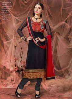 Charming Red And Black Zari Work Churidar Suit, Product Code :6000, shop now http://www.sareesaga.com/charming-red-and-black-zari-work-churidar-suit-6000  Email :support@sareesaga.com What's App or Call : +91-9825192886