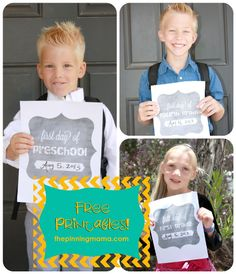 "First Day Of School Signs -- If you haven't started a tradition of taking your kiddo's first day of school picture, it's not too late. Here are some ""first day of school"" printables!"