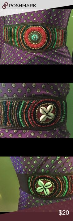 Elastic leather belt from chicos Lovely beaded and shell statement belt multi color!! Chico's Accessories Belts