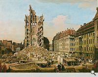 Bernardo Bellotto: Die Ruinen der Kreuzkirche in Dresden, 1765. Öl auf Leinwand…