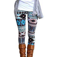 e165c036c09 Fheaven Casual Women Lady Skinny Geometric Print Stretchy Jegging Pants  Slim Leggings (XL