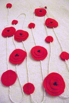 Handmade Red Felt Garland Poppy Flowers home by FlowersByKara, $17.50
