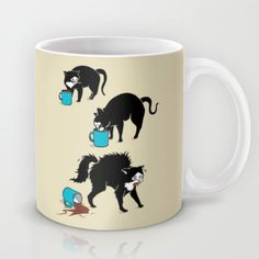 Coffee+Cat+Mug+by+Boots+-+$15.00--from Society 6.  FOr Laura Worrel with a starbucks gift card